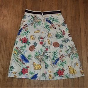 J Crew SZ 8 Tropical print fun silky skirt